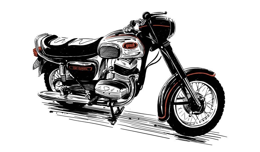 Yezdi Motorcycle Sketch